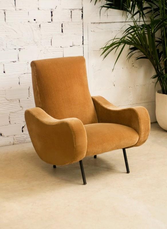 Large Vintage Armchair Beige Velvet Retro Style 50s