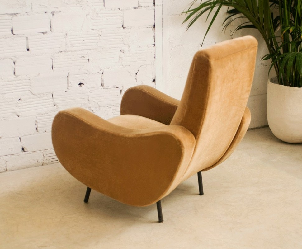 fauteuil vintage gros ann es 50 style r tro velours beige. Black Bedroom Furniture Sets. Home Design Ideas