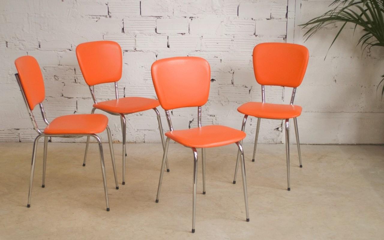Vintage Chairs 60s Orange Vinyl Chrome Metal