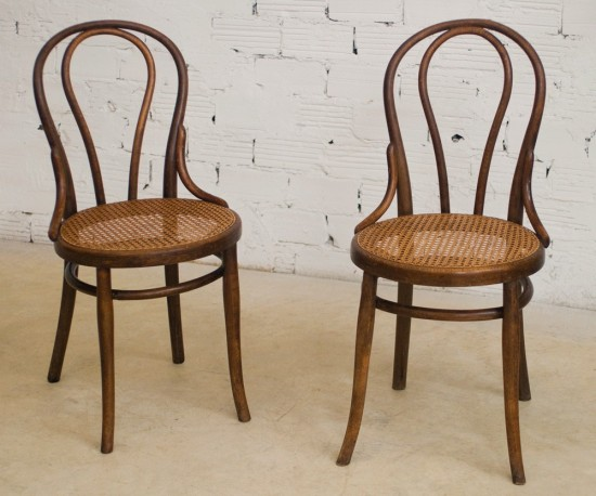 Thonet, Chairs, Vintage, Retro, Antique, Bistro, Chair, The 20s, Wood  Turned, Canage Seat.