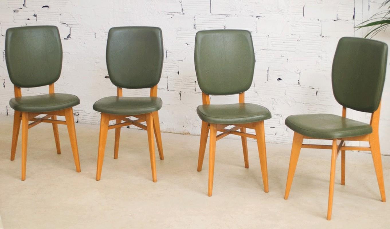 Chaises vintage ann es 50 1950 salle manger vert for Chaise salle a manger annee 50