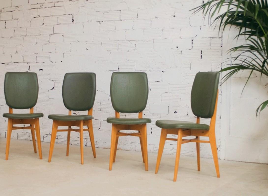 Chaises vintage ann es 50 1950 salle manger vert for Salle a manger annee 50
