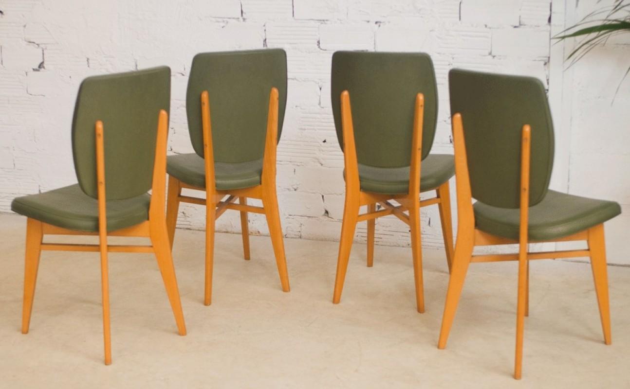 Chaises vintage ann es 50 1950 salle manger vert for Chaise de salle a manger hemisphere sud