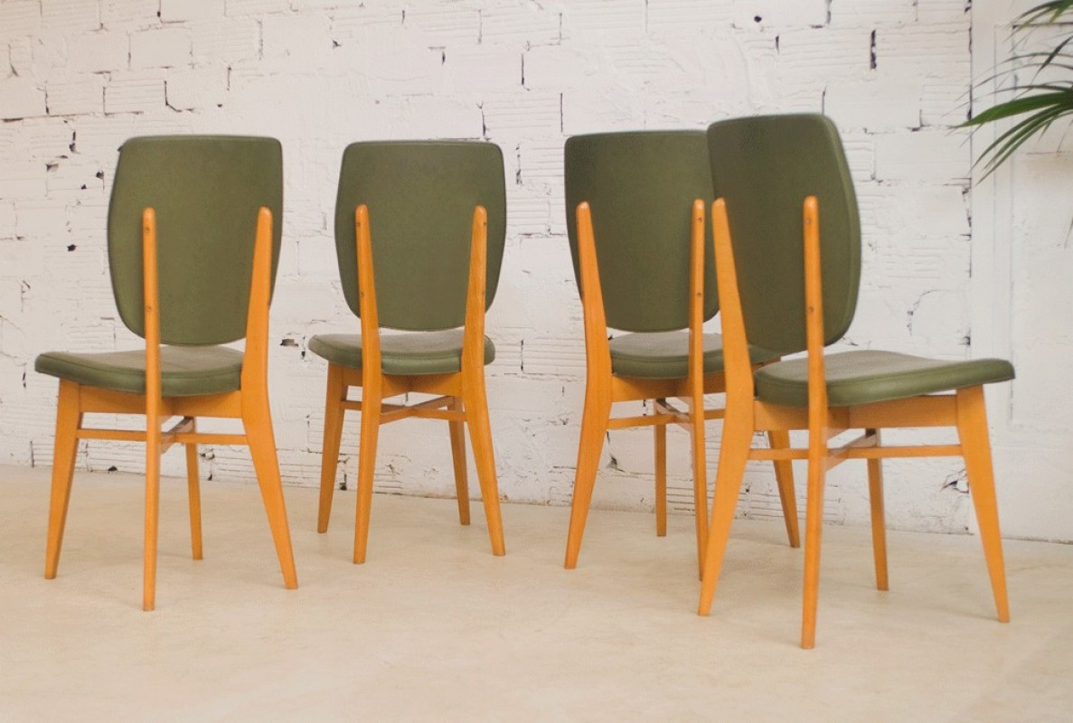Chaises vintage ann es 50 1950 salle manger vert for Salle a manger 1950