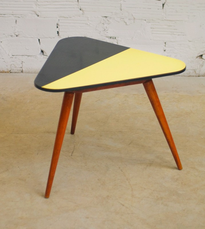 vintage, tripod coffee table, 50s, 1950, made of beech, triangular ...