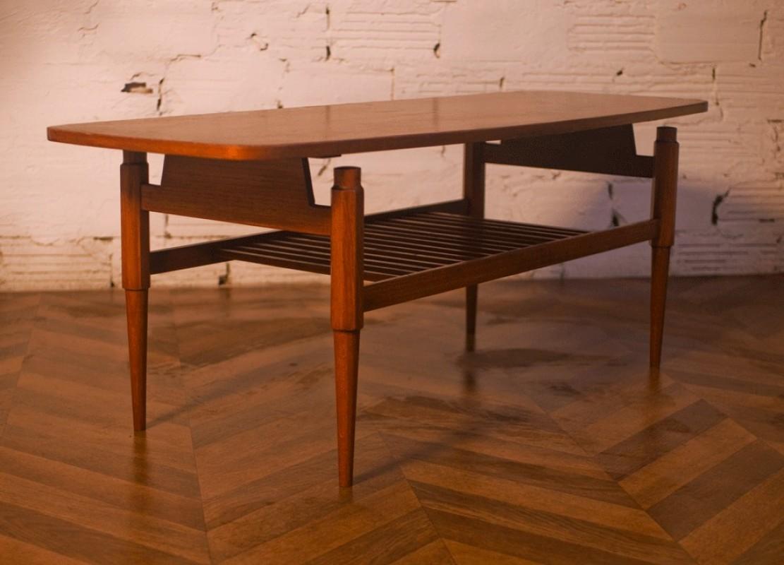 table basse vintage rectangulaire teck design. Black Bedroom Furniture Sets. Home Design Ideas
