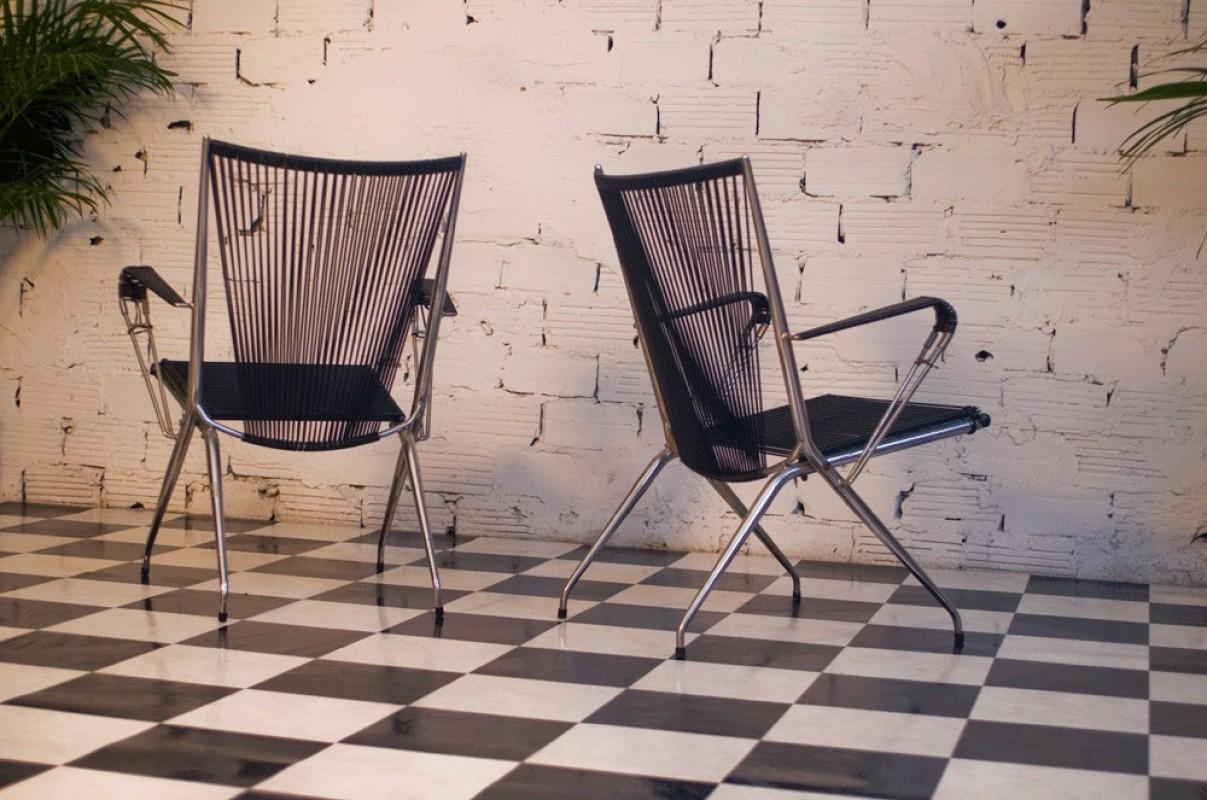 Lounge Chairs 70s 1970 Vintage Retro Metal Black