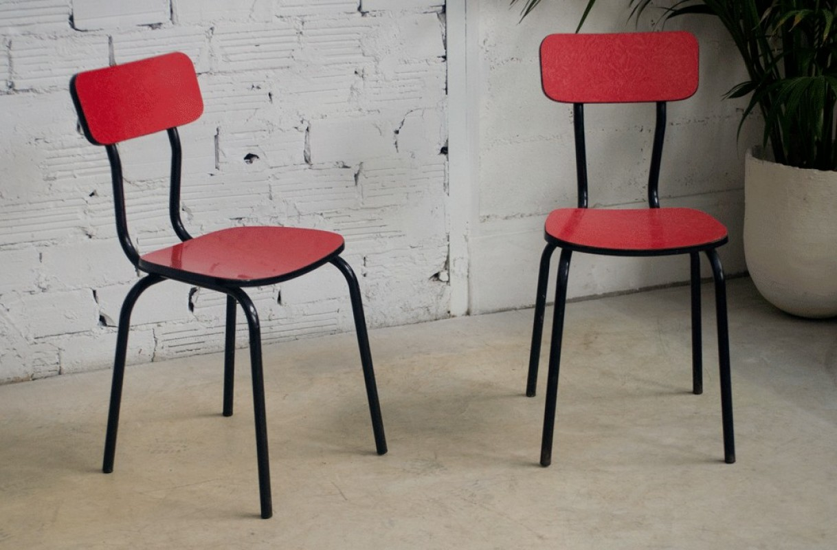 Vintage Kitchen Bistro Chairs 50 60s 1950 1960 Formica Red
