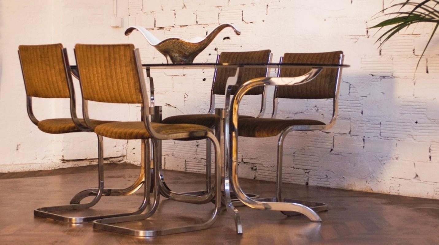 Table Vintage Ann 233 Es 70 Verre Fum 233 Inox M 233 Tal Chaises