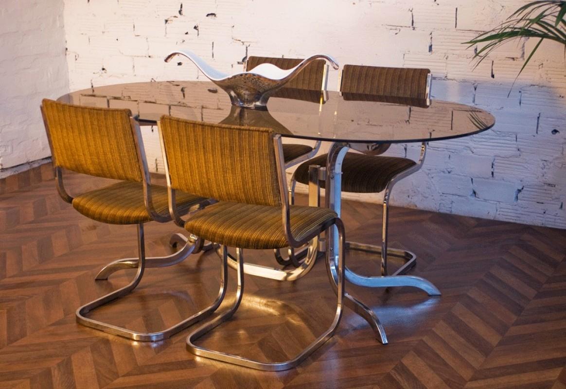 Table vintage ann es 70 verre fum inox m tal chaises - Ensemble salle a manger ...