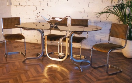 70s Smoked Table & Chairs
