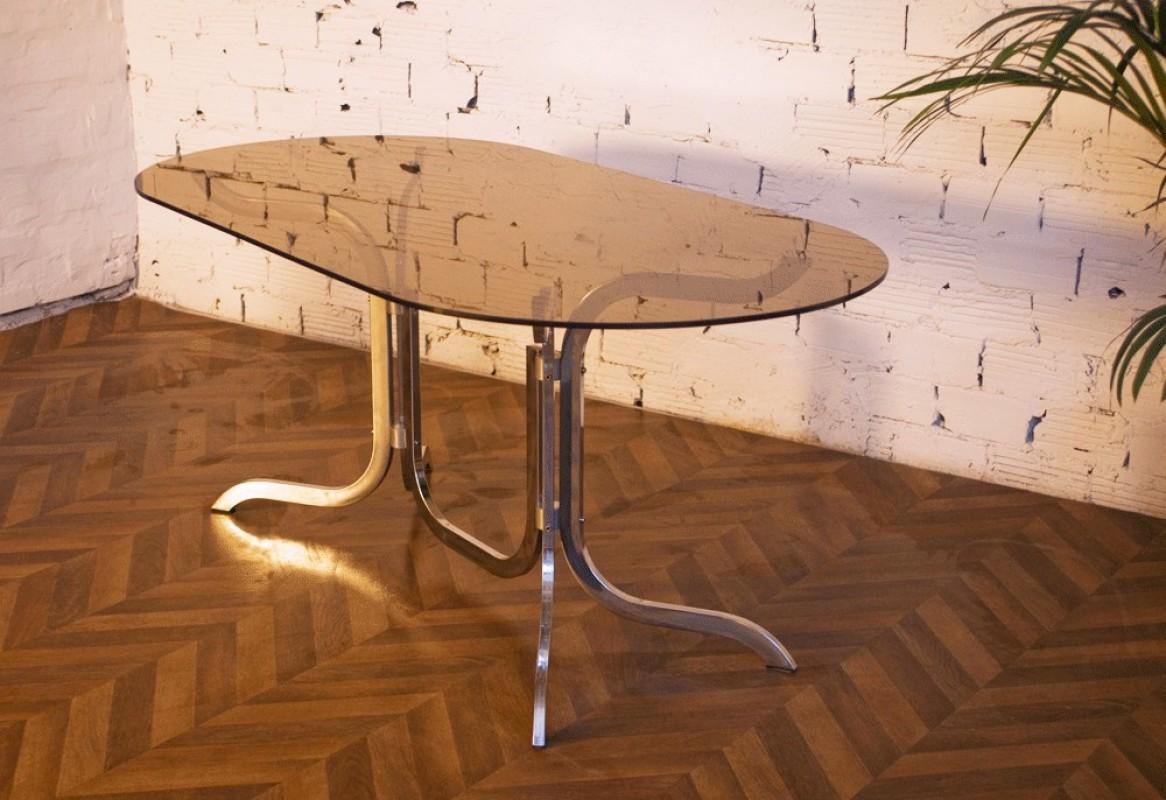 Table vintage ann es 70 verre fum inox m tal chaises for Ensemble de table a manger