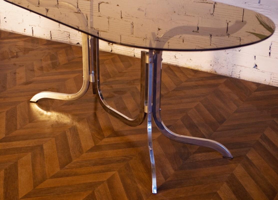 Table vintage ann es 70 verre fum inox m tal chaises for Ensemble table salle a manger