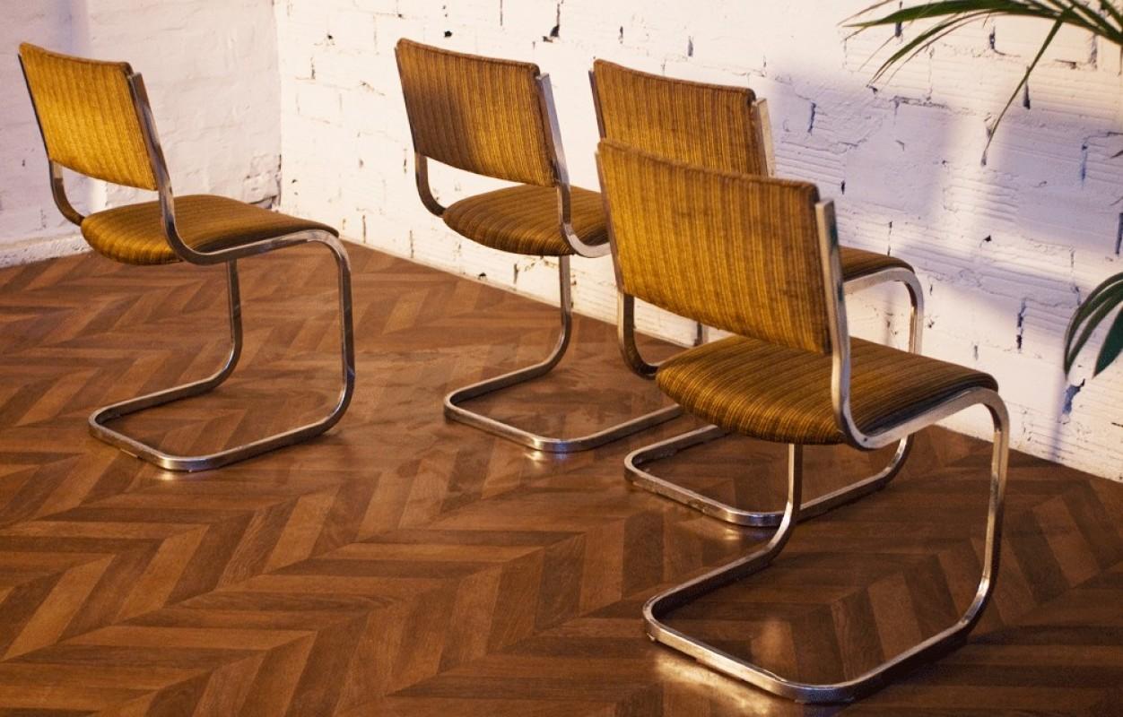 Table vintage ann es 70 verre fum inox m tal chaises - Ensemble salon salle a manger ...