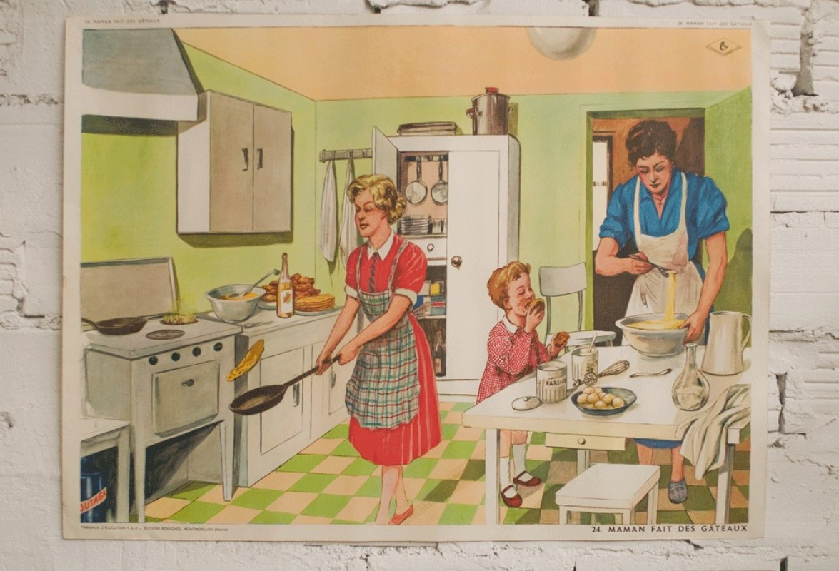 Vintage school poster 50s 1950 french school ce2 - Abat jour maison du monde ...