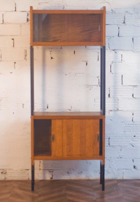 Cabinet Vintage Showcase 50s Beech Honey Color Black