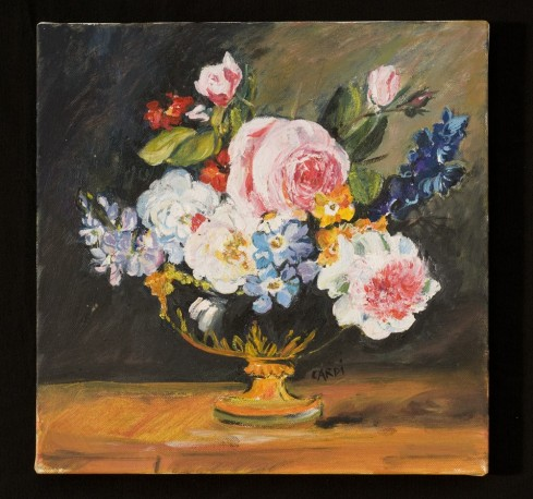 Oil On Canvas Flowers By Fidelie Cardi A Unique And Exclusive Piece Of Art