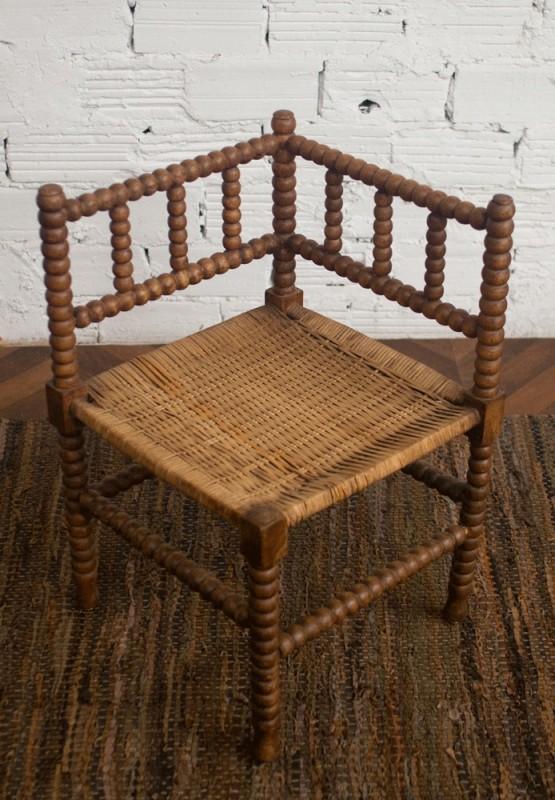chaise d 39 angle fauteuil d 39 angle ancienne r tro vintage campagne paille tress e bois fin. Black Bedroom Furniture Sets. Home Design Ideas