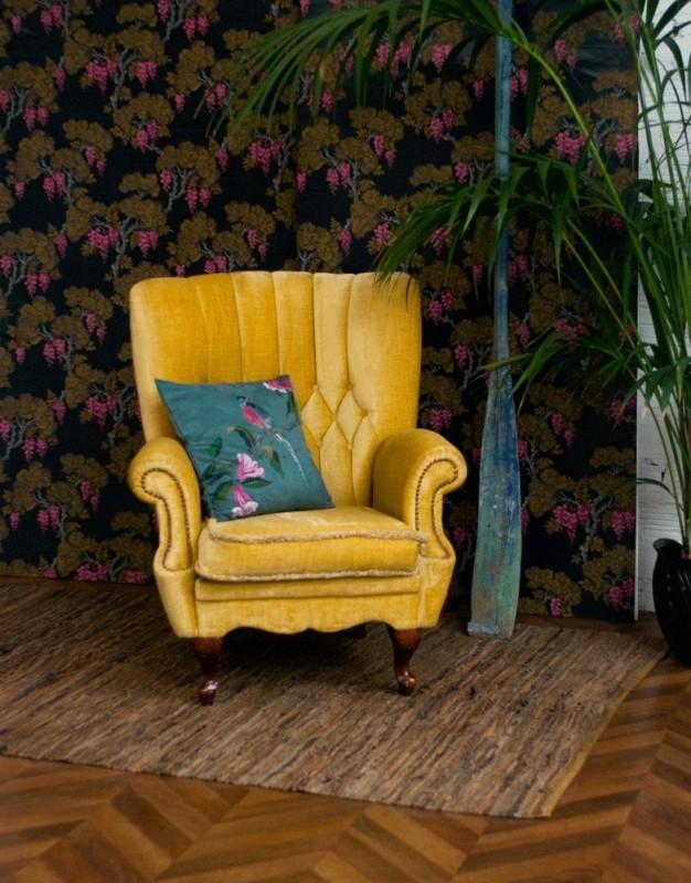 fauteuil vintage, fauteuil anglais, fauteuil velours, ancien, baroque, années 40