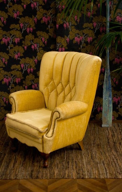 fauteuil vintage fauteuil anglais fauteuil velours ancien baroque ann es 40. Black Bedroom Furniture Sets. Home Design Ideas
