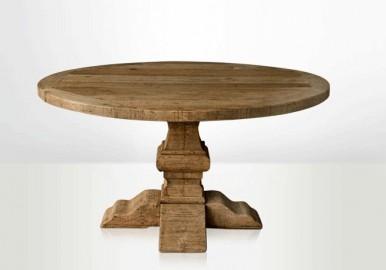Large round farm table country table vinatge treo table - Table ronde en pin avec rallonge ...