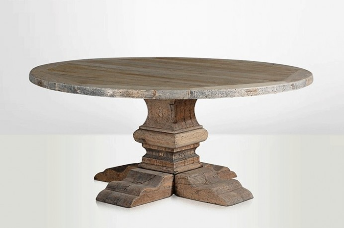 Large round farm house wood table country table vintage old pine wood - Table ronde 180 cm diametre ...