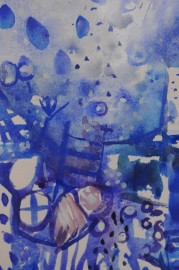 Contemporary watercolor on handmade paper - SOLD