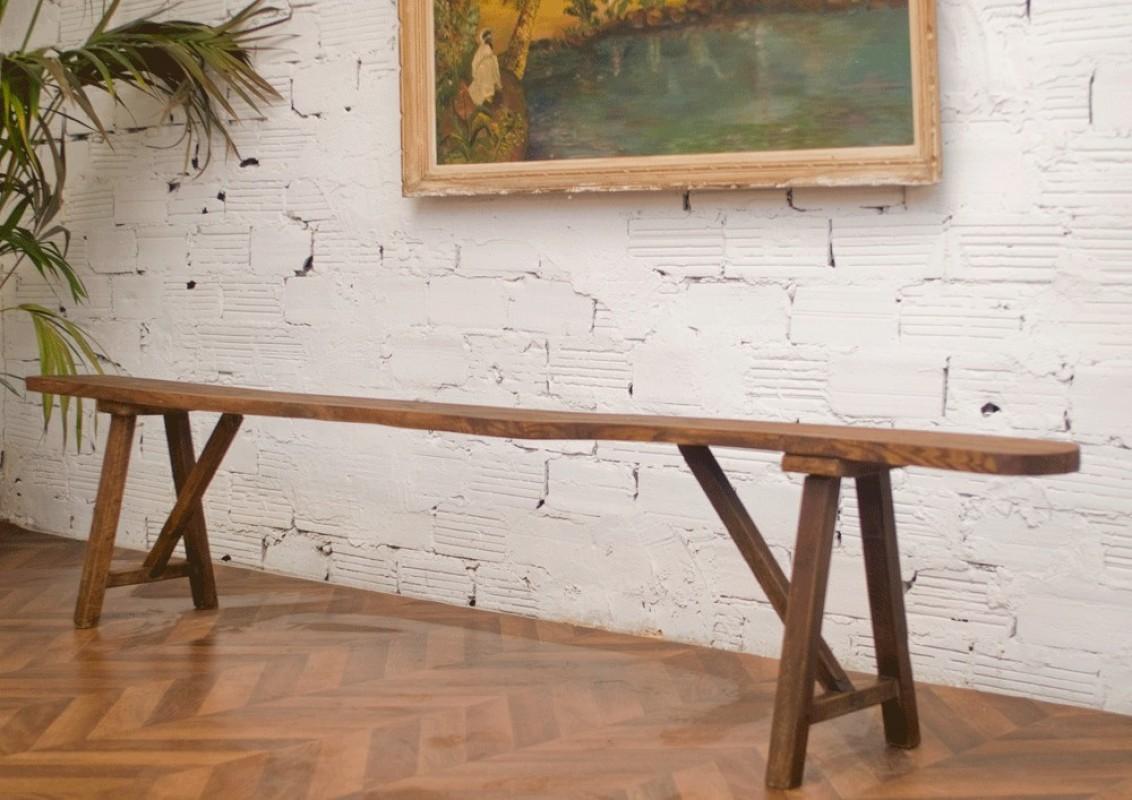 Grand banc de ferme banc de table banc ancien banc - Banc de table en bois ...