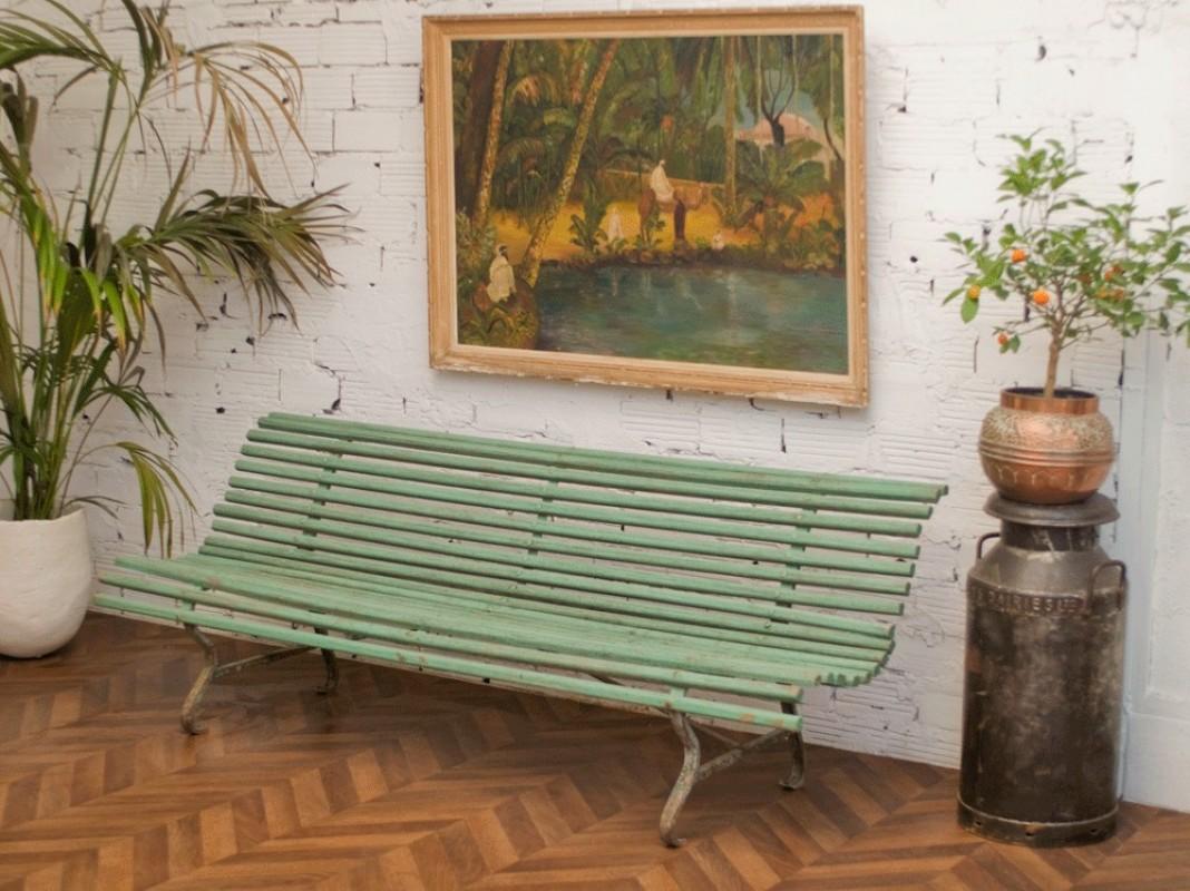 grand banc, grand banc de jardin, banc de jardin, 1900, banc en bois ...