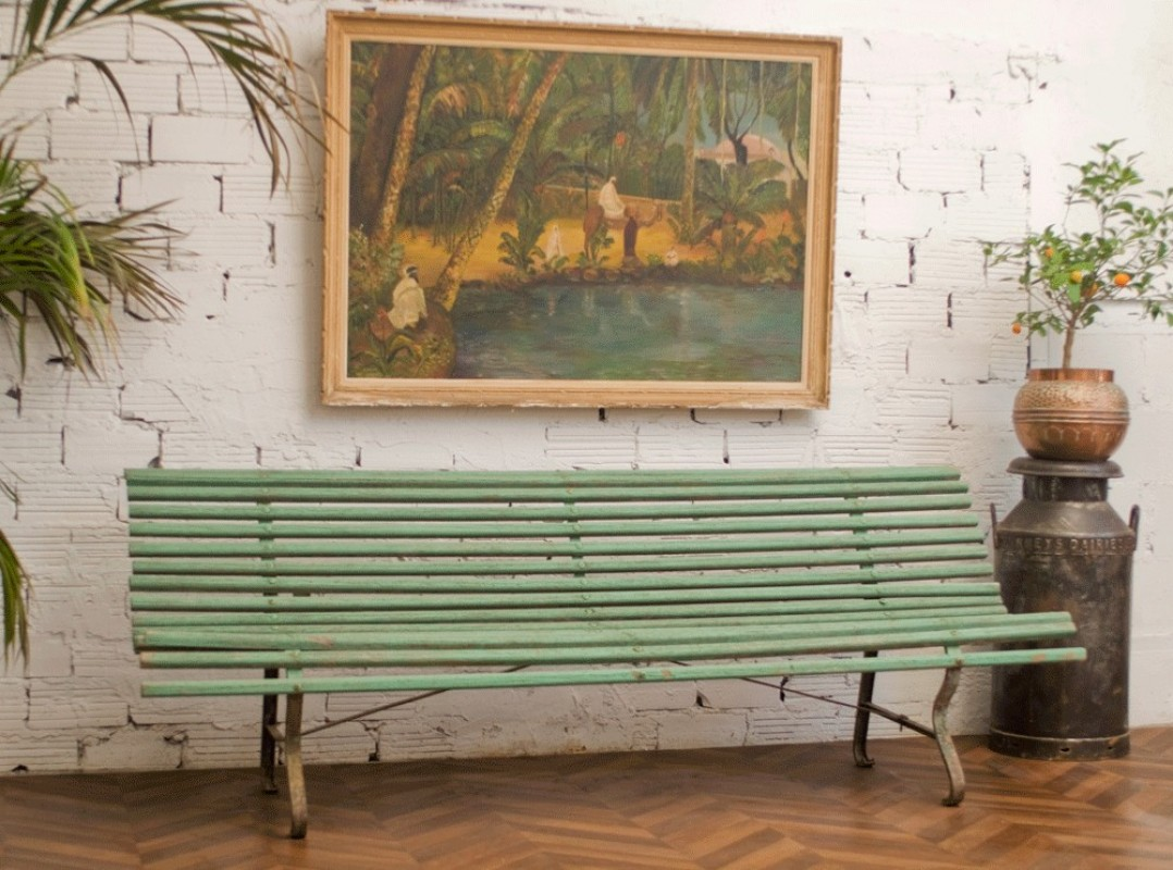 Park Bench Old Vintage Large 30s Made In Wood Green Color Cast Iron