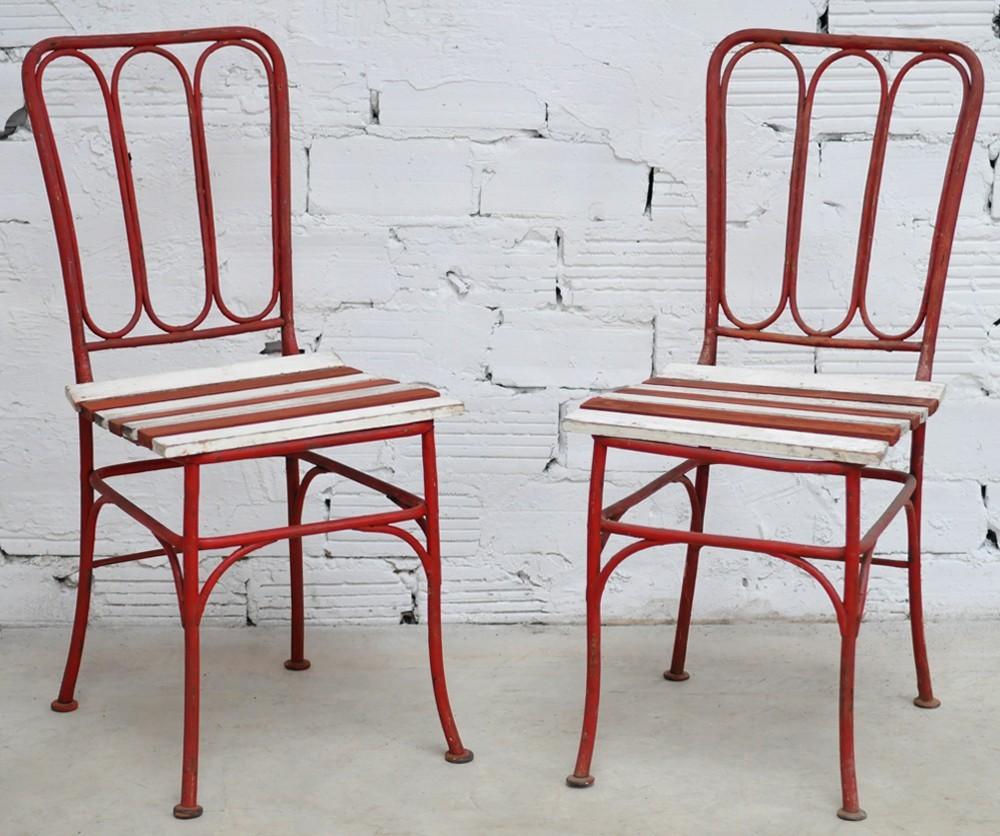 chaise fer forg ancienne vintage blanche volutes meuble ann es 50 mobilier 1950 50. Black Bedroom Furniture Sets. Home Design Ideas