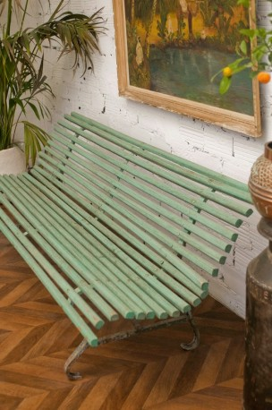 Park Bench Old Vintage Large 30s Made In Wood Green Color Cast