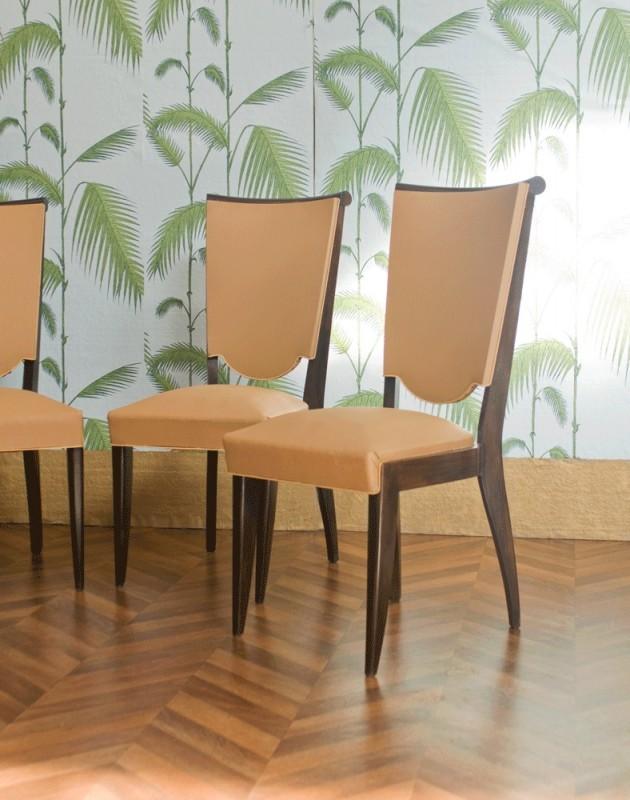 chaises vintage art d co ann es 1930 1940 moleskine blanche ann es 30 1930 50s. Black Bedroom Furniture Sets. Home Design Ideas