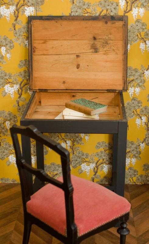 antic napoleon iii retro small country office desk black wood napoleon iii. Black Bedroom Furniture Sets. Home Design Ideas