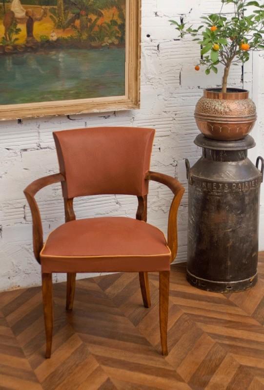 fauteuil bridge vintage ann es 50 1950 simili cuir moleskine marron camel. Black Bedroom Furniture Sets. Home Design Ideas