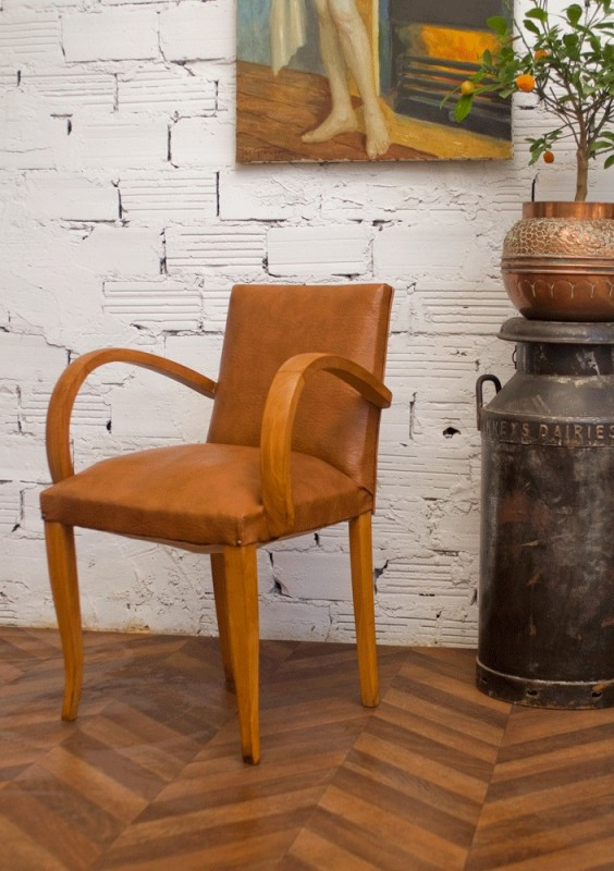 fauteuil bridge ancien vintage ann es 50 50s 1950 simili cuir camel. Black Bedroom Furniture Sets. Home Design Ideas