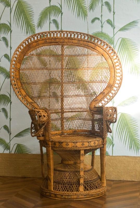 chaise emmanuelle fauteuil authentique ann es 70 80 vintage r tro rotin tress grand. Black Bedroom Furniture Sets. Home Design Ideas