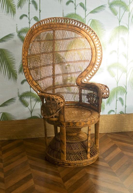 Emmanuelle chair vintage rattan armchair vintage for Petite chaise en osier