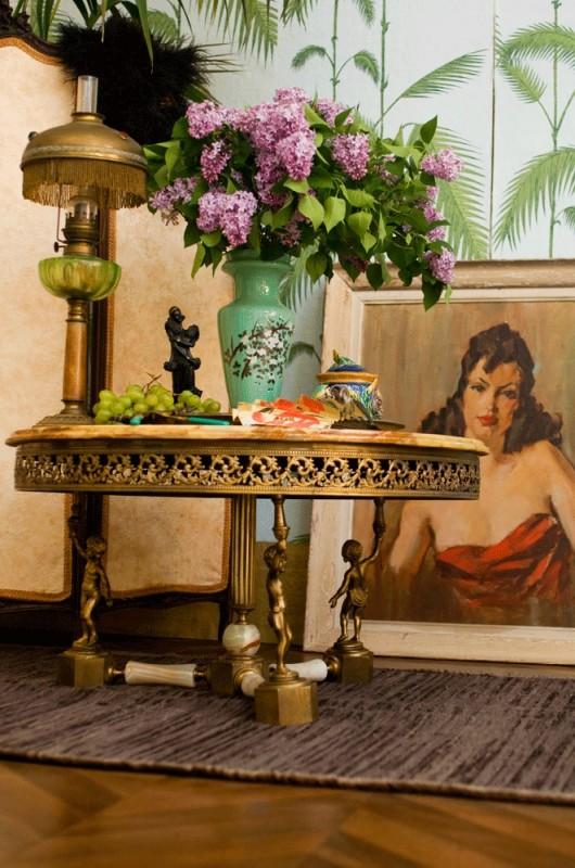 table basse ancienne ronde ann es 30 1930 albatre laiton angelots. Black Bedroom Furniture Sets. Home Design Ideas