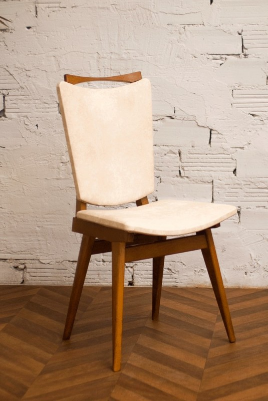 chaise ann es 30 ann es 40 1940 art d co moleskine simili cuir blanche cr me tachet e. Black Bedroom Furniture Sets. Home Design Ideas