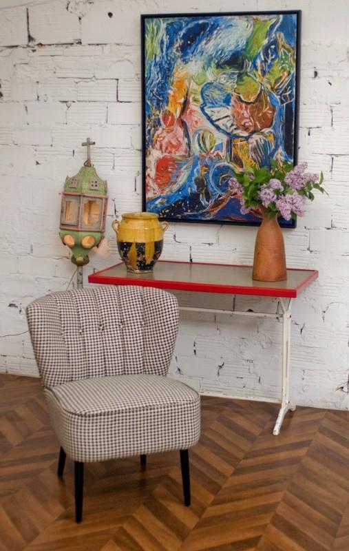 table bistrot vintage ann es 50 ann es 30 formica pied en fonte style art d co 1930. Black Bedroom Furniture Sets. Home Design Ideas
