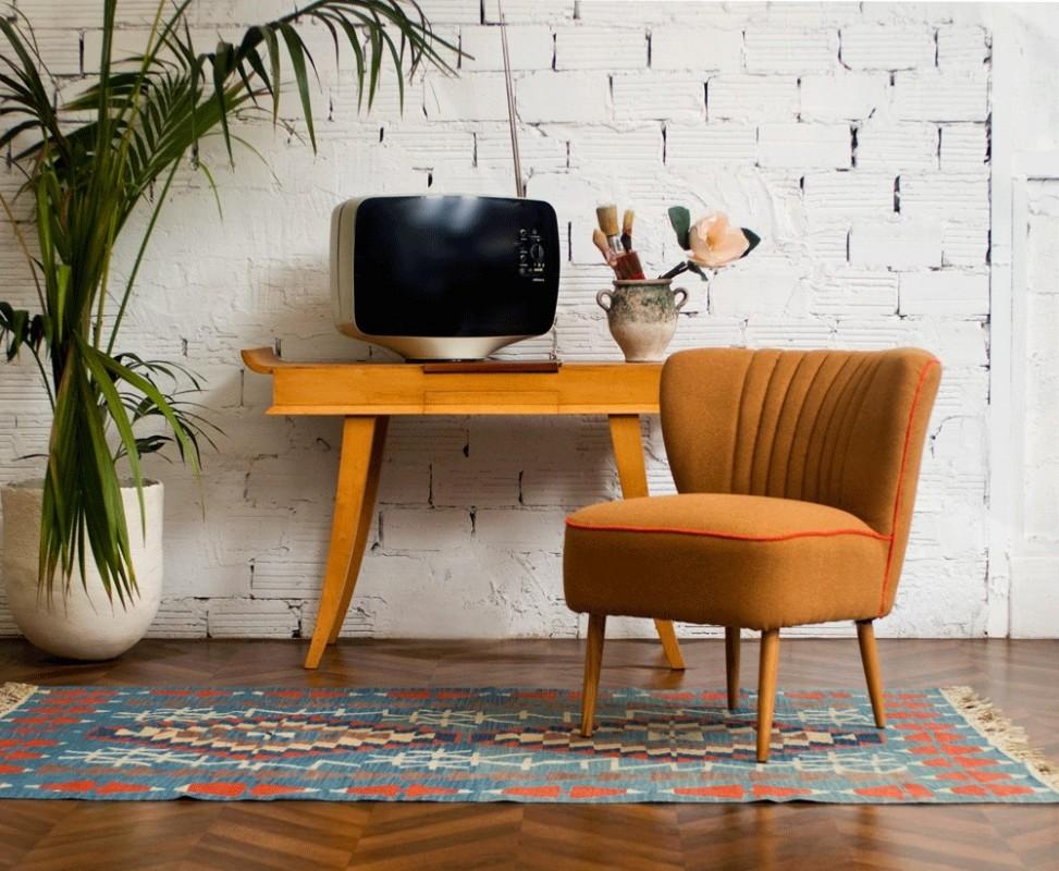 petit fauteuil fauteuil cocktail fauteuil salon vintage ann es 50 1950 tabac moutarde. Black Bedroom Furniture Sets. Home Design Ideas