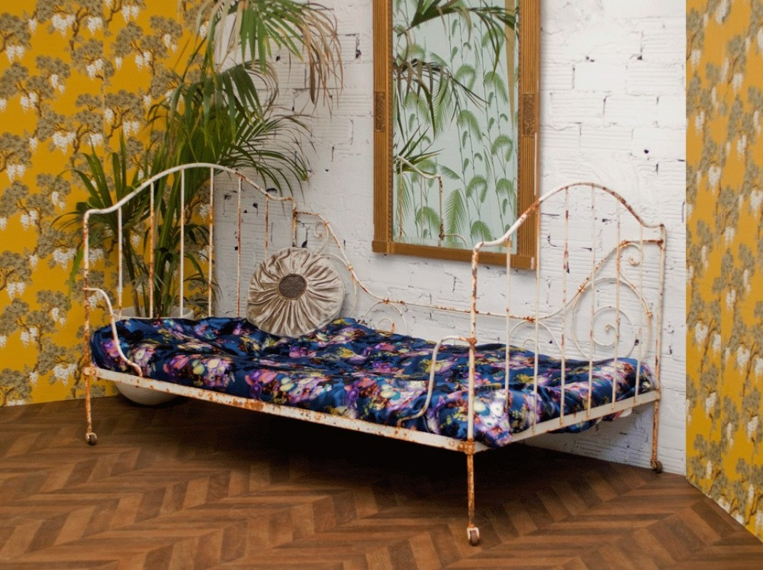 Bed bench wrought iron 1920 sold arteslonga for Banquette lit
