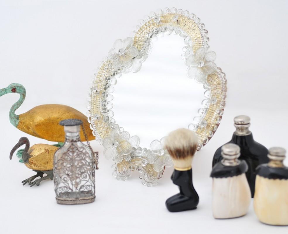 Petit miroir mobile en verre et bois fa on venise objet for Miroir petit