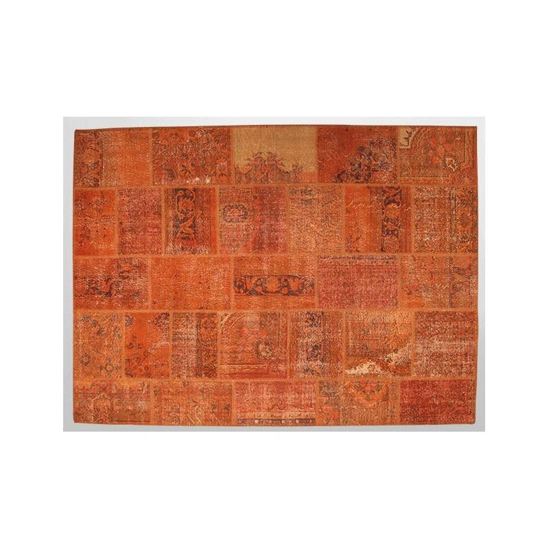 Tapis vintage patchwork tapis ancien rouge orang curry turc laine pi ce unique Tapis vintage patchwork