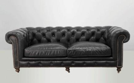 Canapé Chesterfield noir vintage
