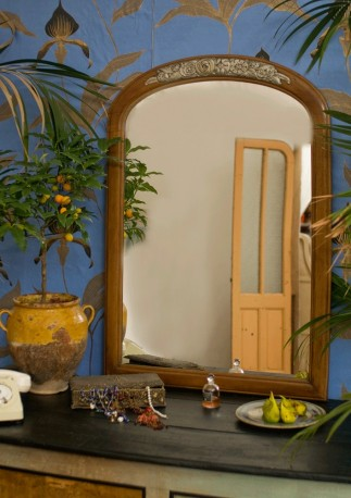 Miroir fleuri en bois années 30