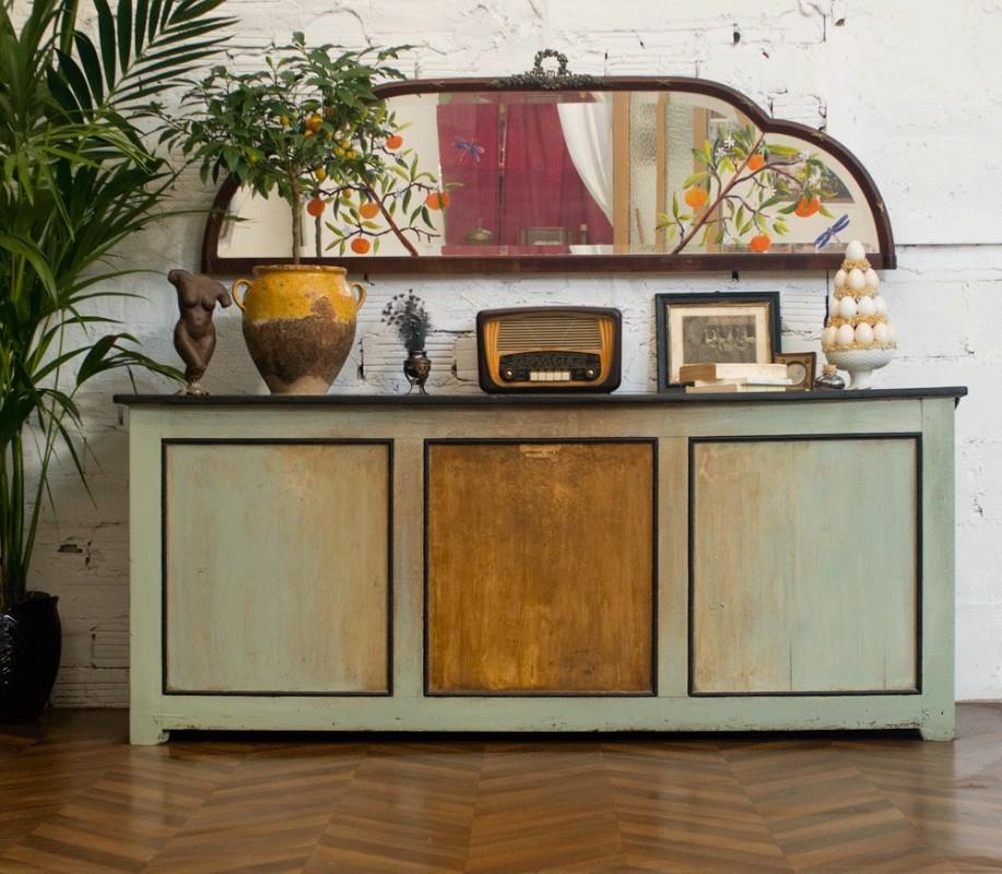 miroir d coratif ancien miroir ancien peint la main. Black Bedroom Furniture Sets. Home Design Ideas