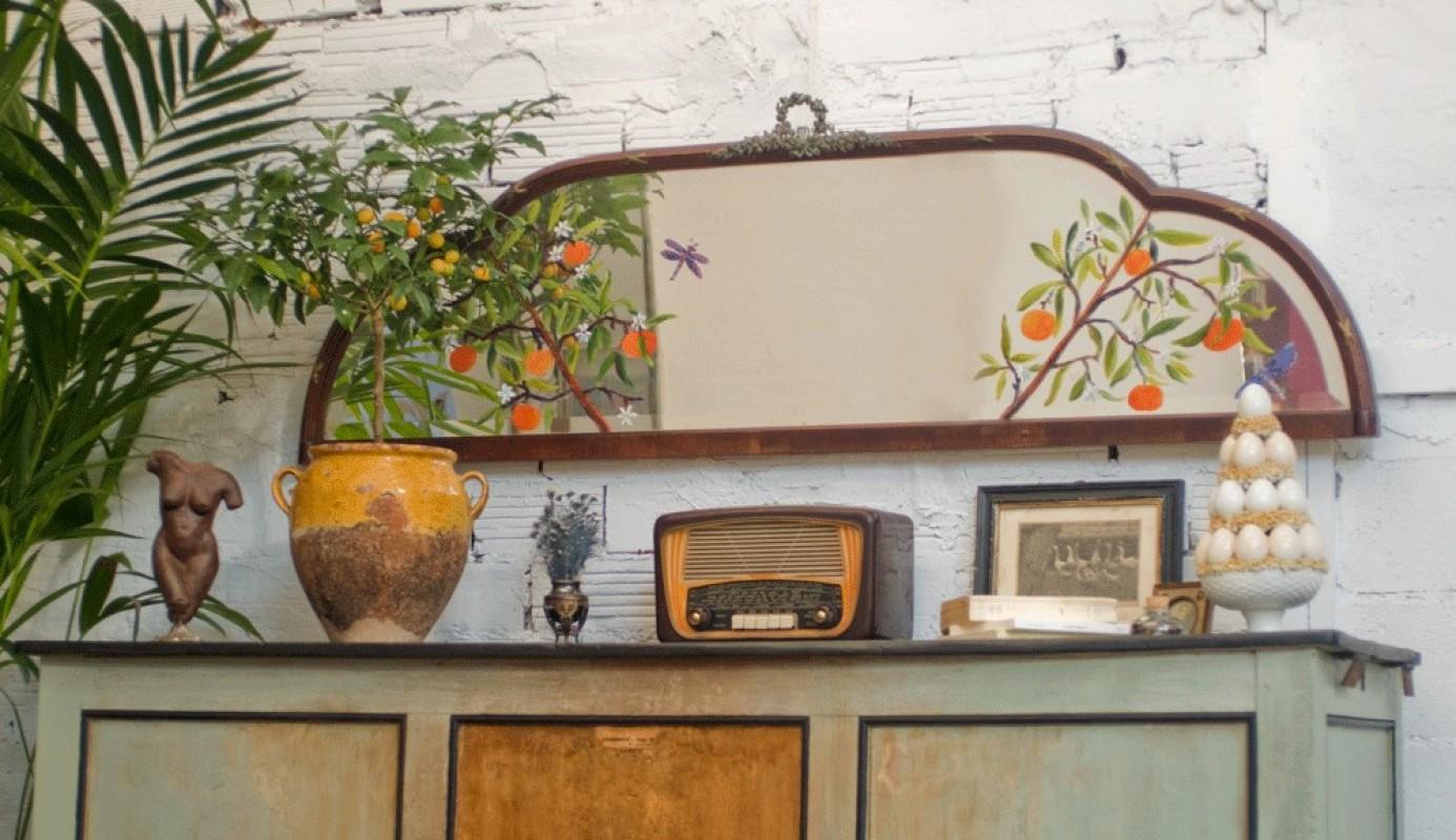 Miroir d coratif ancien miroir ancien peint la main for Miroir 2m de long