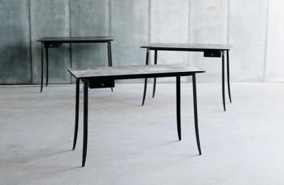 Table bureau métal & cuir